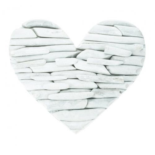 Whitewashed driftwood heart